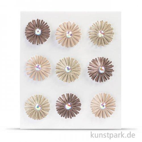 Vintage Paper Blumen, 9 Stück sortiert