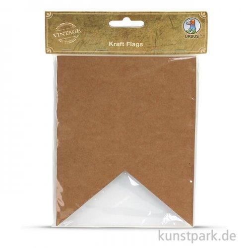 Vintage Papierfähnchen - Gross aus Kraftpapier, 12 Stück