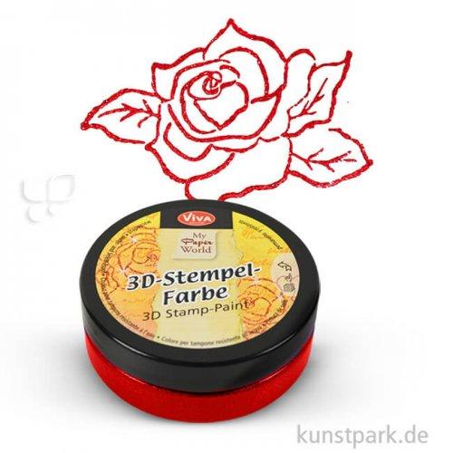 Viva Decor 3D-Stempelfarbe 50 ml | Karminrot-Metallic