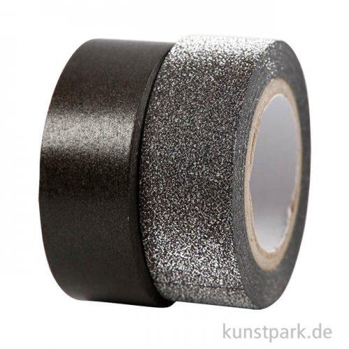 Vivi Gade Motiv-Klebeband Washitape 15 mm - Set mit 2x5 m Schwarz