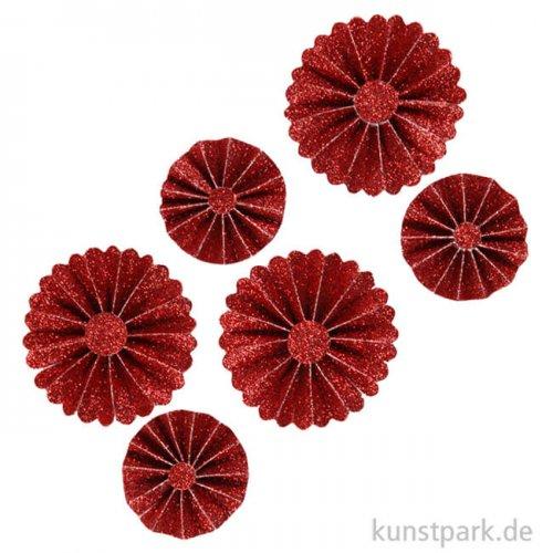 Vivi Gade Rosetten aus Glitzer-Papier, 6 Stück sortiert 35-50 mm   Rot