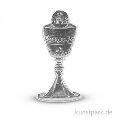 Wachsmotiv - Kelch und Hostie, 4,5 cm, 1 Stück Silber