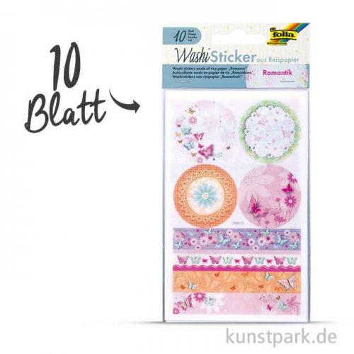 Washi-Sticker - Romantik, 10x16 cm, 10 Blatt sortiert