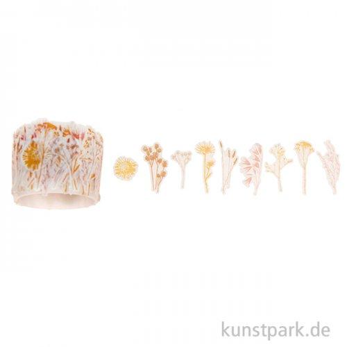 Washi Sticker - Transformation Trockenblumen, 200 Stück