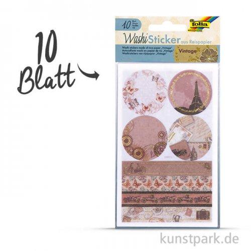 Washi-Sticker - Vintage, 10x16 cm, 10 Blatt sortiert