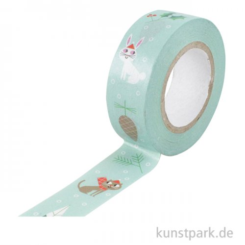 Washi Tape - Christmas is in the Air, Mint mit Weihnachtsmann, 10 m