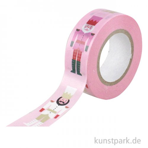 Washi Tape - Christmas is in the Air, Pink mit Nussknackern