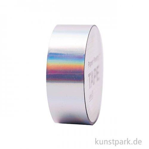 Washi Tape - Holographisch, irisierend Silber, 10 m