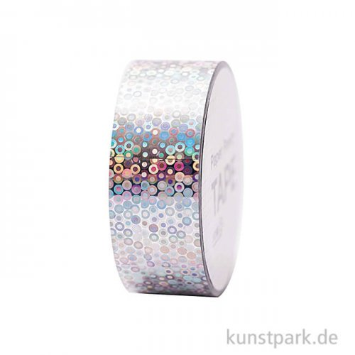 Washi Tape - Holographisch, Kreise Silber