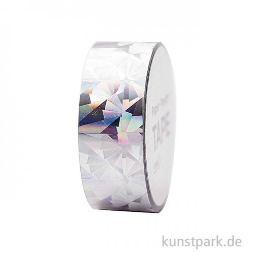 Washi Tape - Holographisch, Kristall Silber, 10 m