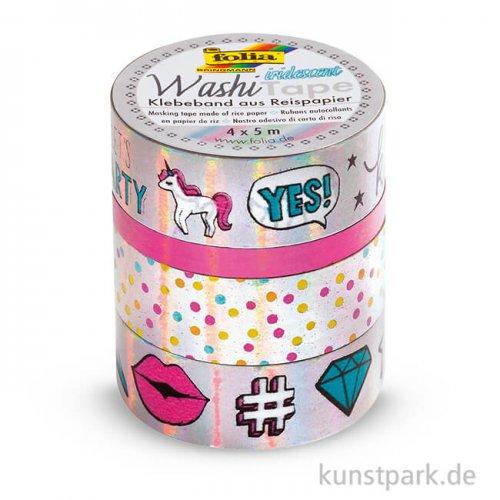 Washi-Tape Hotfoil - IRISIEREND Silber, 4er Set