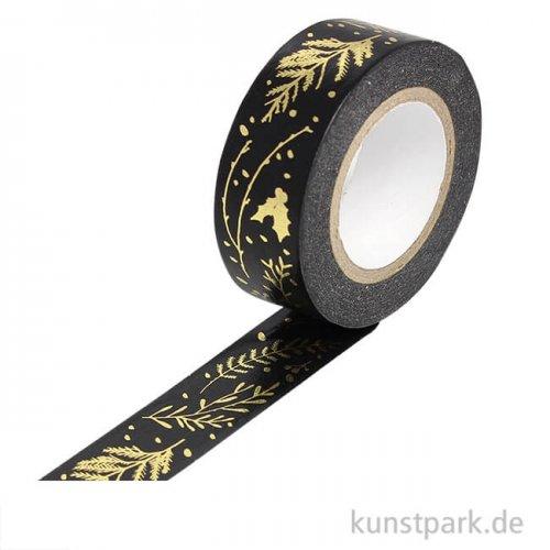 Washi Tape - Nostalgic Christmas, Zweige Schwarz-Gold
