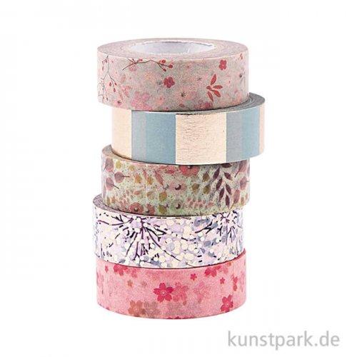 Washi Tape Set - Bouquet Sauvage, 5 Stück, je 10 m
