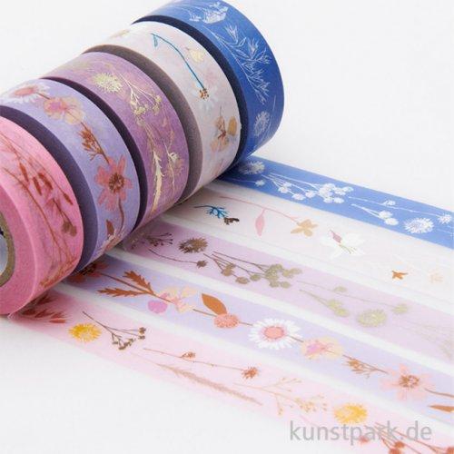 Washi Tape Set - Transformation Trockenblumen, 5 Stück