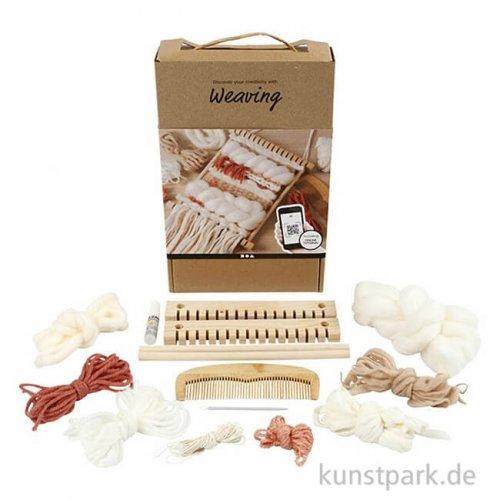 Weben-Lernset mit kleinem Holzwebstuhl und viel Zubehör