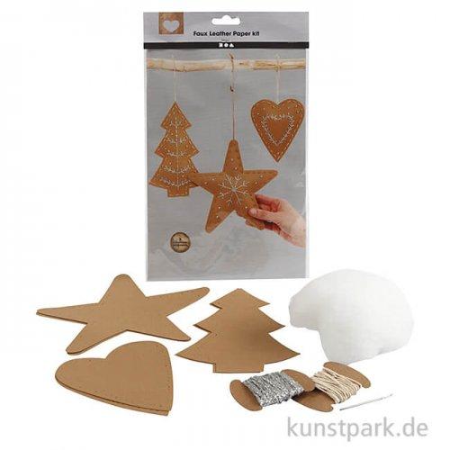 Weihnachtsanhänger aus Lederpapier - Natur, 3 Designs