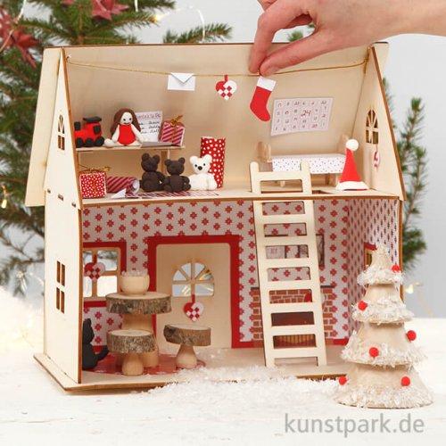 Weihnachtsmann-Haus Materialset mit umfangreichem Zubehör