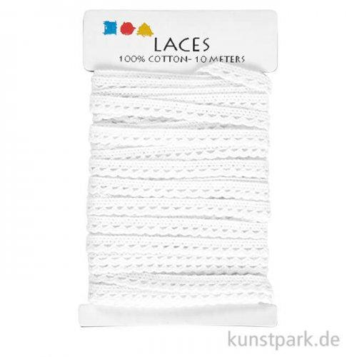 Weiße Häkelborte, Breite 10 mm, Länge 10 m