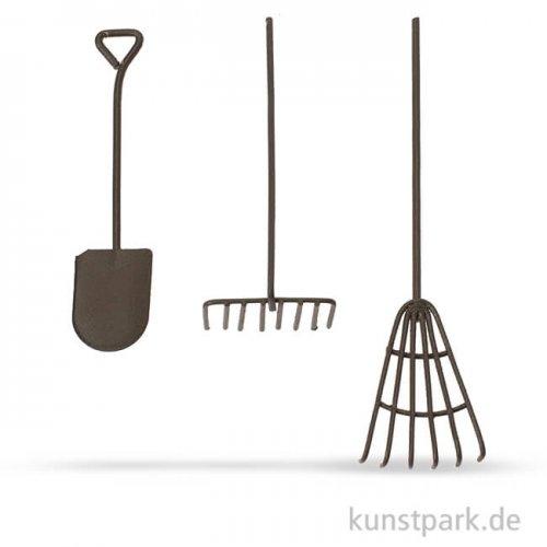 Werkzeug-Set aus Metall - Rost, 12 cm, 3-teilig