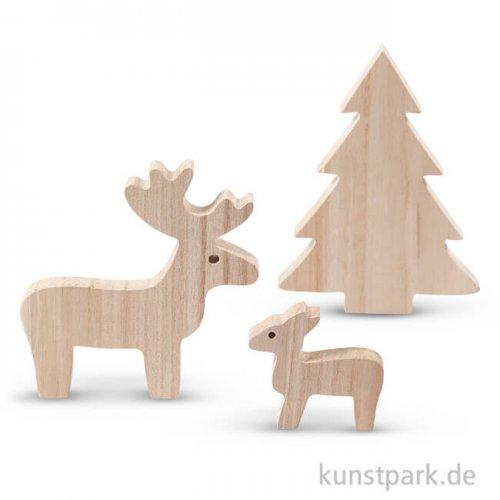 Wildtiere aus Holz, 6 - 15 cm, 3 Stück sortiert