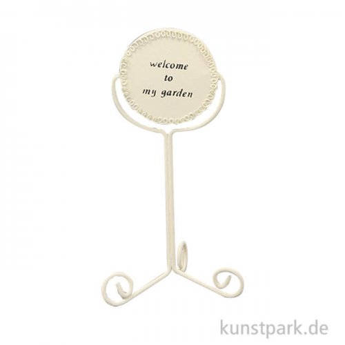 Willkommensschild - Weiß,14 cm