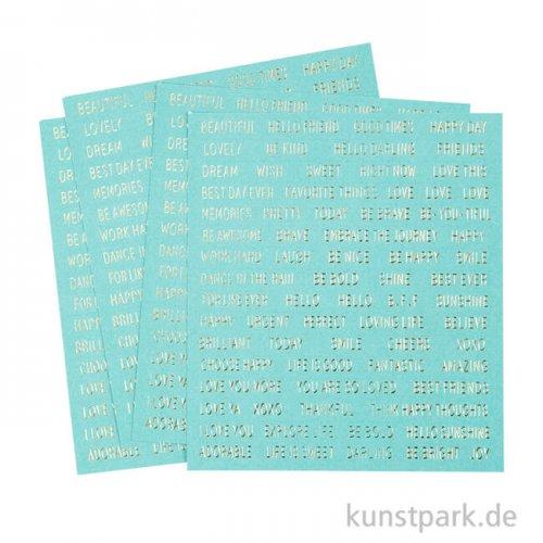 Wort- und Sprüche-Sticker - Türkis, Größe 10x11,5 cm, 4 Blätter