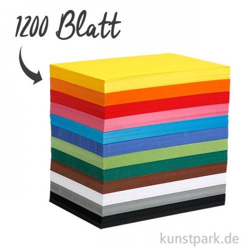 XXL Set - Bastelkarton, 1200 Blatt, DIN A4, 180 g, 12 Farben sortiert