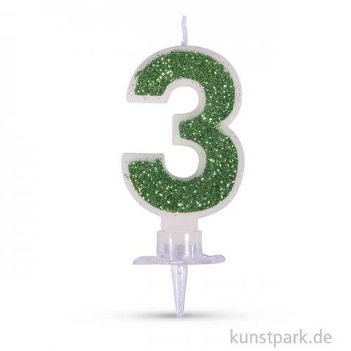 Zahlenkerze mit Glitter und Halter, 10 cm 3 - Grün