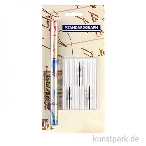 Zierschriftenfeder-Starter-Set mit Federhalter & 3 Zierschriftenfedern