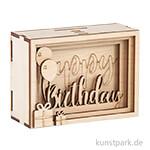 3D Geschenkbox - Birthday, 11,5x8,5x5 cm, Holz-Bausatz mit 13 Teilen
