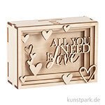 3D Geschenkbox - Love, 11,5x8,5x5 cm, Holz-Bausatz mit 14 Teilen