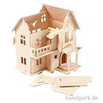 3D-Holzpuzzle Haus mit Balkon, 15,8x17,5x19,5cm