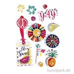 3D Papier Sticker - Summer Party, 13 Stück sortiert