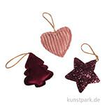Anhänger Bordeaux - Baum, Herz, Stern, 7 cm, 3 Stück