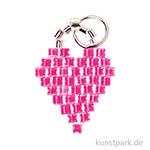 Anhänger Brick-Stitch - Herz, Neon-Pink