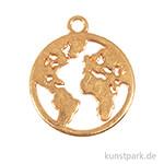 Anhänger Metall - goldene Weltkarte, 2 Stück