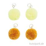 Anhänger Mini Pompons - Gelb, 4er Set