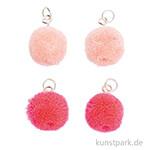 Anhänger Mini Pompons - Rosa, 4er Set