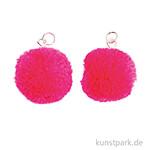 Anhänger Pompons - Neon Pink, 2er Set
