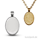 Anhänger Vintage Collection - Oval, 2x2,7 cm mit Cabochon Altsilber