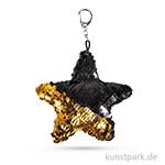 Bastelpackung - Wendepailletten Stern - Gold-Schwarz, 15x10 cm