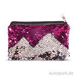 Bastelpackung - Wendepailletten Täschchen - Silber-Pink, 15x10 cm