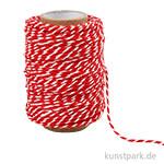 Baumwollschnur, 1,1 mm, 50 Meter Rot-Weiß