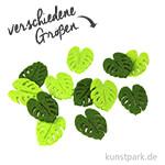 Blätter aus Filz - Grünmix, 12 Stück