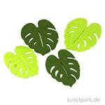 Blätter aus Filz - Grünmix, 8 - 10 cm, 4 Stück sortiert