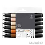 Brush Marker - Winsor & Newton 6er Set, Hauttöne