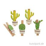 Clip mit Kaktus, Holz, 4 Stück 4,5x2,5cm