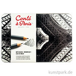 Conte Drawing Set 12 Graphitstifte sortiert im Metallkasten