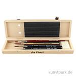 Da Vinci Pinselset, 4 hochwertige Aquarellpinsel & Zubehör im Holzkasten