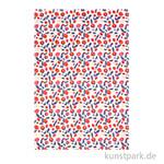 DECOPATCH Texturpapier 789 - Rote Blumen